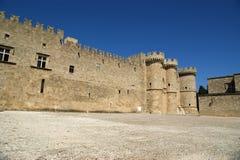 Riddare storslagen förlaga slott, Rhodes ö, Grekland Fotografering för Bildbyråer