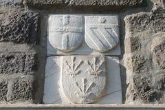 Riddare Symbols i den Bodrum slotten Arkivfoton