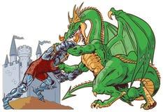 Riddare Wrestling Dragon Vector Illustration stock illustrationer