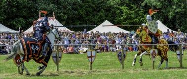 Riddarejoust framme av en upphetsad folkmassa Royaltyfri Bild