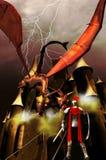 Riddaren, draken och slottet Arkivbild