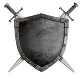 Riddaresköld och svärd för vapensköld medeltida Arkivbilder