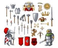 Riddaretecknad filmtecken med den olika modiga medeltida vapenbeståndsdeluppsättningen vektor illustrationer
