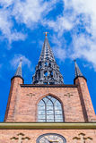 The Riddarholm Church front view. The Riddarholm Church is the burial church of the Swedish monarchs. It is located on the island of Riddarholmen, close to the Royalty Free Stock Photo