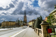 Riddarholmen教会在Gamla斯坦在斯德哥尔摩 瑞典 库存照片