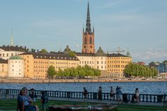 Riddarholmen海岛在斯德哥尔摩老镇  图库摄影