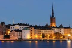 Riddarholmen,小的海岛在中央斯德哥尔摩。 库存图片