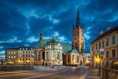 Riddarholmen Church at dusk in Stockholm HDR image. HDR image of Riddarholmen Church at dusk located in Old Town Gamla Stan of Stockholm, Sweden Royalty Free Stock Photo