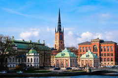 Riddarholmen Church Stockholm. Skyline of Riddarholmen island, part of Gamla Stan Stock Images