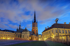 Riddarholmen Church. Stockholm, Sweden at night Royalty Free Stock Images