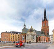 Riddarholmen Church tower at Stockholm, Sweden. Its the burial church of the Swedish monarchs since 1632 Stock Photo