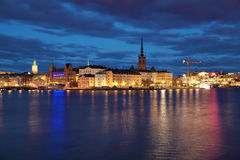 Riddarholmen island and Gamla Stan in Stockholm. Evening view of Riddarholmen island and Gamla Stan in Stockholm, Sweden Royalty Free Stock Images
