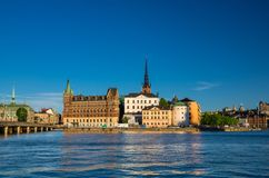 Riddarholmen island with Riddarholm Church spires, Stockholm, Sw royalty free stock images