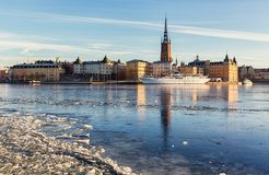 Riddarholmen island in Stockholm city. Riddarfjarden and Riddarholmen in Stockholm on a cold wintry day Stock Image