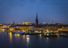 Riddarholmen nachts, Stockholm, Schweden. Stockbild