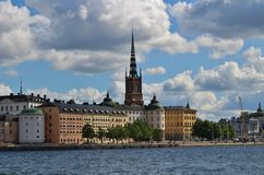 Riddarholmen in Stockholm. Riddarholmen is an island in Lake Mälaren, a district in central Stockholm. The island is together with the Old Town of Stockholm's Royalty Free Stock Photos