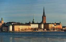 Riddarholmen, Stockholm. Riddarholmen in Stockholm viewed from the west in winter or early spring Stock Photo