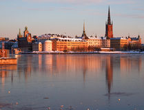 Riddarholmen, Stockholm in winter. The island Riddarholmen in Stockholm with medieval architecture in winter time Stock Image