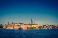 Riddarholmen wyspa z Riddarholm Kościelnymi iglicami, Sztokholm, Sw zdjęcie royalty free