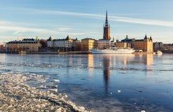 Riddarholmeneiland in de stad van Stockholm Stock Afbeelding