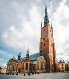 Riddarholmskyrkan教会晴天在斯德哥尔摩,瑞典 免版税库存照片