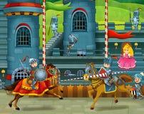 Riddarna som slåss i turneringen Arkivbild