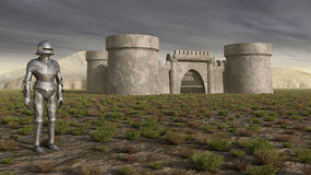 Ridder en middeleeuws kasteel Stock Afbeeldingen