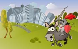 Ridder en moderne stad vector illustratie