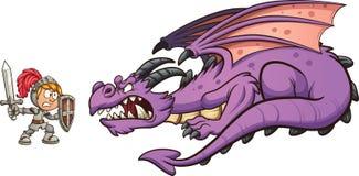 Ridder het vechten draak royalty-vrije illustratie