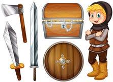 Ridder met wapens en schat stock illustratie