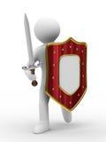 Ridder met zwaard op witte achtergrond Stock Afbeelding