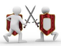 Ridder met zwaard op witte achtergrond Stock Foto's