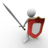 Ridder met zwaard op witte achtergrond Royalty-vrije Stock Foto's