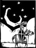 Ridder onder toenemende maan Royalty-vrije Stock Afbeeldingen