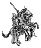 Ridder op de Gravurestijl van de Paardhoutsnede vector illustratie