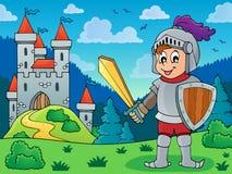 Ridder in pantser dichtbij kasteel Stock Foto's