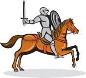 Ridder Riding Horse Cartoon Royalty-vrije Stock Fotografie