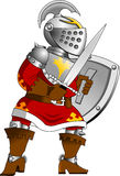 Ridder in rood pantser Royalty-vrije Stock Afbeelding