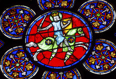 Ridder Sword Stained Glass Notre Dame Cathedral Paris France Royalty-vrije Stock Foto