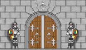 Ridders die poorten in vector bewaken Royalty-vrije Stock Afbeelding
