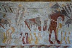 Ridders figtht een slag, middeleeuwse muurschildering Royalty-vrije Stock Afbeelding