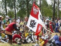 Ridders op de wederopbouw van de Slag van Grunwald stock afbeelding
