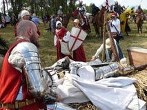 Ridders op de wederopbouw van de Slag van Grunwald Stock Foto's