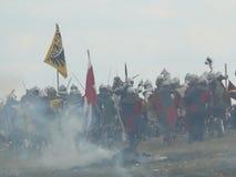 Ridders op de wederopbouw van de Slag van Grunwald royalty-vrije stock fotografie