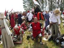 Ridders op de wederopbouw van de Slag van Grunwald stock foto