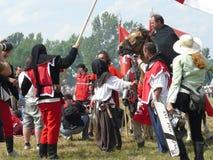 Ridders op de wederopbouw van de Slag van Grunwald Royalty-vrije Stock Foto