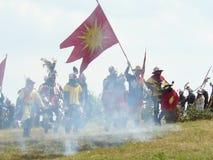 Ridders op de wederopbouw van de Slag van Grunwald Stock Afbeeldingen