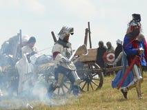 Ridders op de wederopbouw van de Slag van Grunwald royalty-vrije stock afbeeldingen