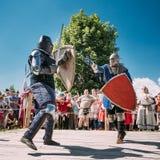 Ridders in Strijd met Zwaard Restauratie van Stock Fotografie