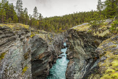 Ridderspranget (The Knight's leap) in Jotunheimen National Par. K, Norway. Ridderspranget is a current in the river Sjoa formed when the river has gnawed deep Stock Image